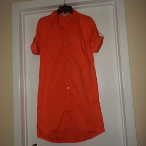 Michael Kors Size M Orange Shirt Dress Pre-owned